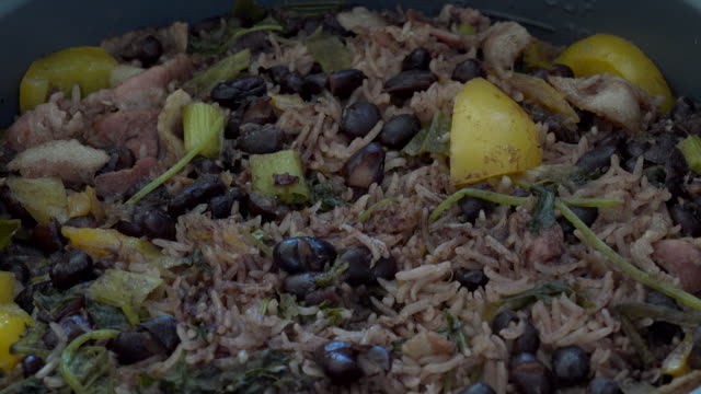 cuban cuisine: congri rice or arroz congri, traditional creole plate in the caribbean island - bean stock videos and b-roll footage