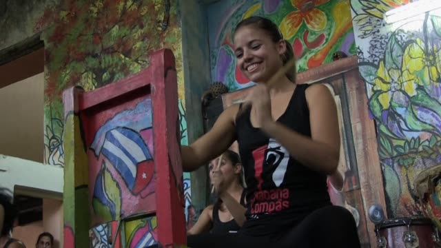 a cuban dance and percussion company beats to a fusion of flamenco and afro cuban rhythms the first of its kind on the island - flamenco stock-videos und b-roll-filmmaterial