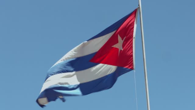 cuban flag against the sky - flag blowing in the wind stock videos & royalty-free footage