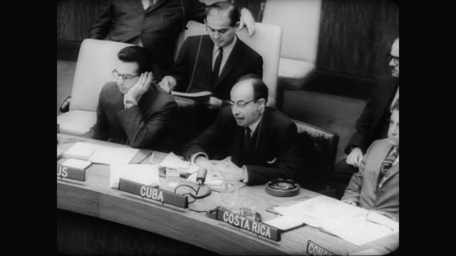 / cuban foreign minister raul roa garcia addresses united nations accusing the united states of invading cuba / cu raul roa garcia as he gives his... - 1961 stock videos & royalty-free footage
