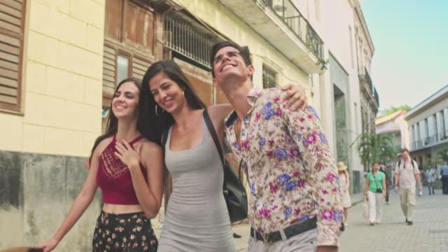 cuban friends visiting havana - latin american and hispanic ethnicity stock videos & royalty-free footage