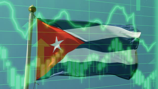 cuban national flag with positive growth chart and graph data. concept piece to indicate improving gdp, stock market crash, recession, depression, inflation, deflation, bull market, good national, economic and business performance - bull market stock videos & royalty-free footage