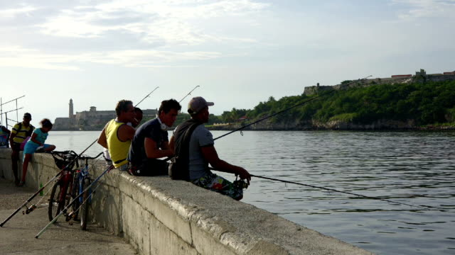 cuban people fishing with line and rod in el malecon - fishing line stock videos & royalty-free footage