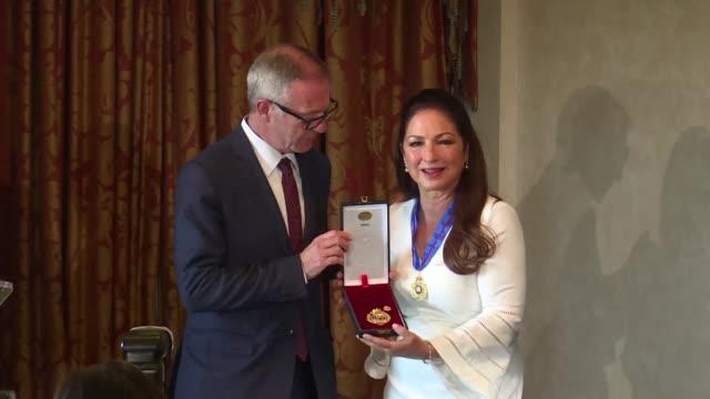Cuban US singer Gloria Estefan is awarded Spain's Gold Medal of Merit in the Fine Arts in Madrid