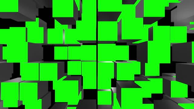 vídeos de stock, filmes e b-roll de cube assemble green screen transitions - cubo