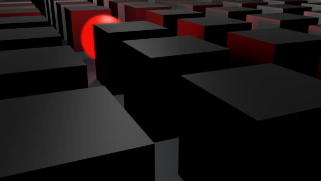 Cubes in gray with a glowing red sphere