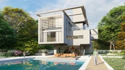 Cubic modern house with garden and a lounge area by the pool