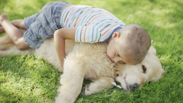 stockvideo's en b-roll-footage met knuffelen met een hond - alleen kinderen