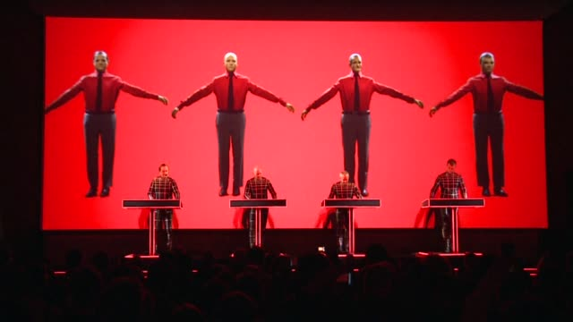cult sensation kraftwerk is performing a series of retrospective concerts at the moma, which is celebrating the group's innovation in electronic... - synthpop stock videos & royalty-free footage