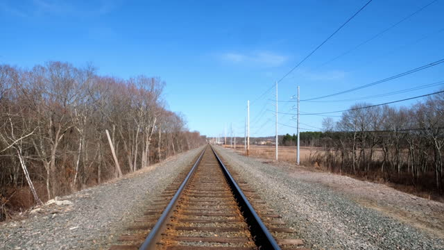 stockvideo's en b-roll-footage met culter park reservation. train tracks surrounded by trees on a sunny day. - sunny
