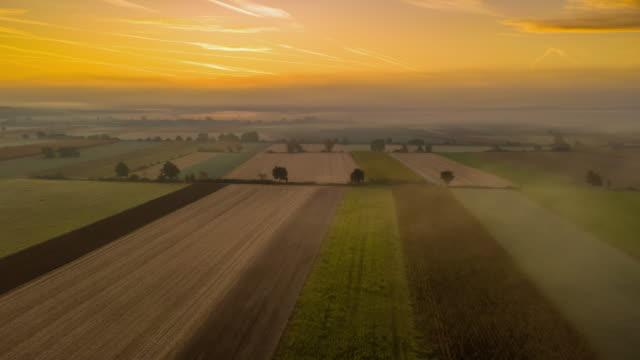 vídeos de stock, filmes e b-roll de h/l campos cultivados na neblina matinal - hyper lapse