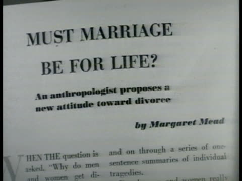cultural anthropologist margaret mead in living room w/ others, mead's books, marriage article. sot saying marriage not same, divorce not result of... - divorce stock videos & royalty-free footage