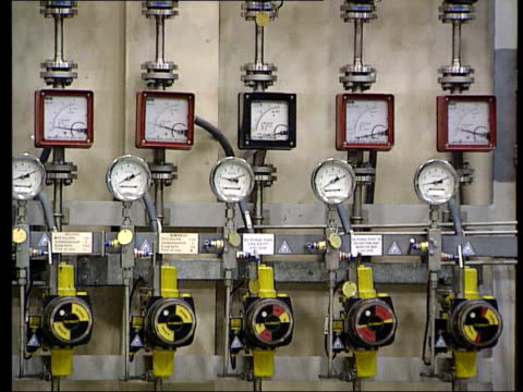cumbria sellafield int gv equipment in sellafield nuclear reprocessing plant cms dials cs valve gv glove boxes ms row of dials on equipment gvs... - sellafield nuclear power station stock videos & royalty-free footage