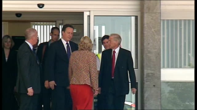 david cameron visits area england cumbria whitehaven ext prime minister david cameron mp from hospital after visiting victims of shooting spree of... - derrick bird cumbria stock-videos und b-roll-filmmaterial