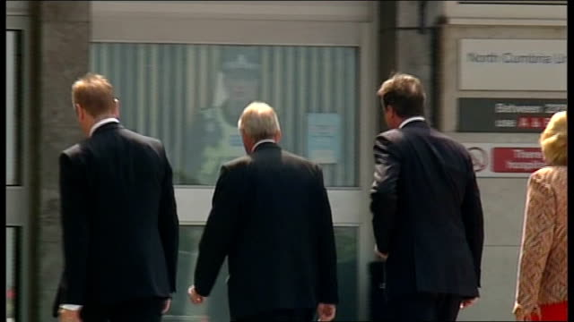 david cameron visits whitehaven hospital england cumbria whitehaven west cumberland hospital ext david cameron mp and theresa may mp arriving in car... - cumbria stock-videos und b-roll-filmmaterial