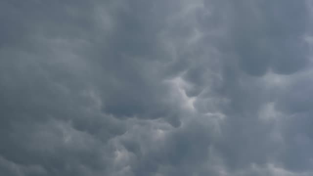 Cumulonimbus mammatus. Low angle view of a stormy sky with storm clouds before the rain.