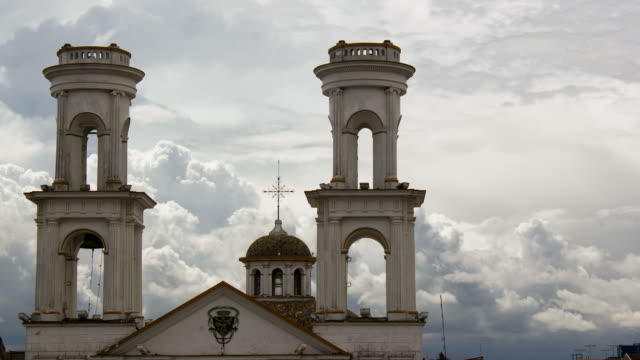 Cumulus clouds forming in the afternoon behind Santo Domingo Church in Latacunga