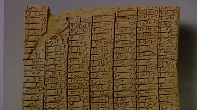 cuneiform tablet. close up of clay tablet with cuneiform script. - ancient stock videos & royalty-free footage