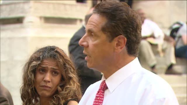 cuomo said his first deputy counsel carey gabay was struck in the head with a bullet and is in critical condition after violence erupted early monday... - andrew cuomo stock videos and b-roll footage