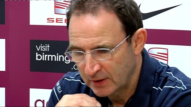 aston villa press conference england warwickshire bodymoor int aston villa manager martin o'neill press conference ahead of uefa cup tie against ajax... - warwickshire stock videos & royalty-free footage