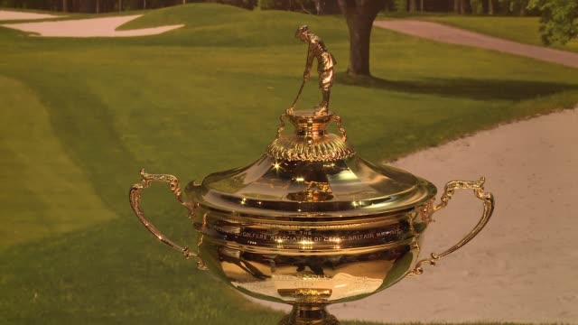 cup at polo ralph lauren and davis love iii celebrate the 41st annual ryder cup at polo ralph lauren on august 29, 2016 in new york city. - davis cup stock-videos und b-roll-filmmaterial