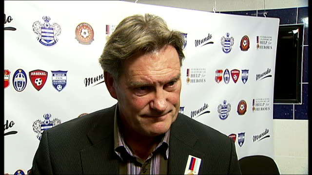 chelsea beat birmingham city / hoddle on managerial vacancy; england: london: loftus road: int hoddle interview continues sot - vacancyサイン点の映像素材/bロール