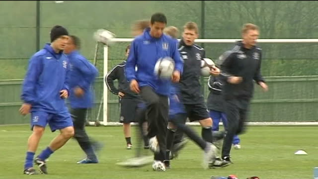 Everton squad training ENGLAND Liverpool Finch Farm EXT Everton squad training Closeup of David Moyes taking part in training Closeup of Tim Cahill...