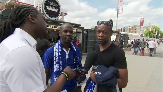 Arsenal beat Chelsea amidst tighter security ENGLAND London Wembley Wembley Stadium EXT Vox pops SOT