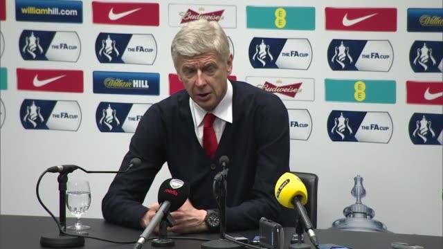 Arsene Wenger and Tim Sherwood press conferences ENGLAND London Wembley Stadium INT Arsene Wenger press conference SOT / Tim Sherwood press...