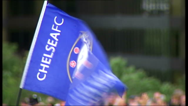 Chelsea And Manchester United Fans Arriving At Wembley Blue Chelsea Flag Being Waved More Of