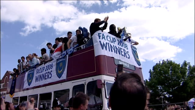 FA Cup final date moved to accommodate Champions League final LIB Portsmouth FC players taking opentopped bus ride through city to celebrate 2008 FA...