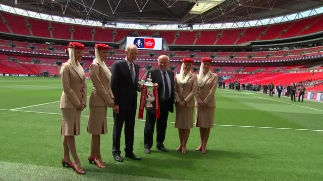 emirates airline to sponsor the fa cup cutaways and interview ext dyke and clark pose for photocall with the fa cup / greg dyke interview sot - greg dyke stock videos and b-roll footage