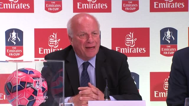 emirates airline to sponsor the fa cup press conference and interviews england london wembley stadium int ben shephard intro / greg dyke press... - greg dyke stock videos and b-roll footage
