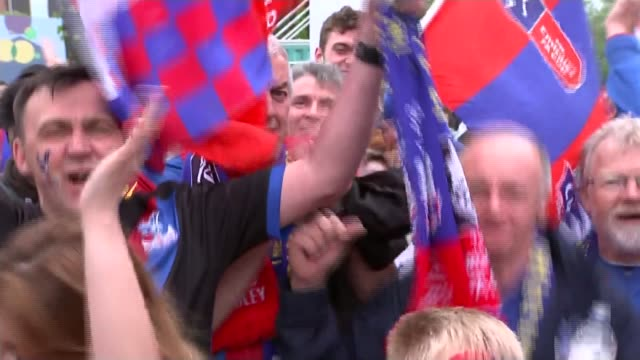 manchester utd v crystal palace england london wembley ext various shots crystal palace fans chanting and along with scarves and flags vox pops - wembley stock-videos und b-roll-filmmaterial
