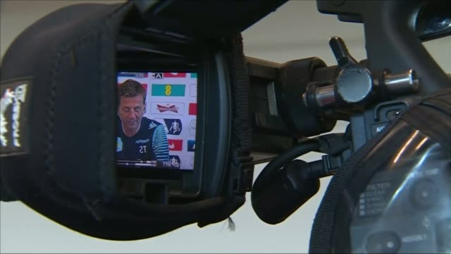 FA Cup final preview 2752015 INT Tim Sherwood into press conference Camera monitor showing Sherwood Tim Sherwood press conference SOT it's a one off...