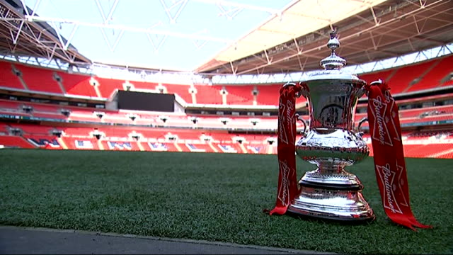 stockvideo's en b-roll-footage met arsenal face hull city wembley stadium fa cup trophy on edge of pitch - fa cup