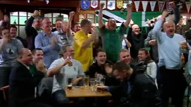 fourth round draw blyth spartans reaction england northumberland blyth croft park int cheering and celebrations on announcement of draw tony platten... - croft stock videos & royalty-free footage