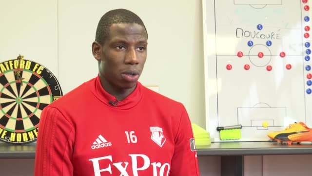 Southampton v Watford Abdoulaye Doucoure interview Hertfordshire INT Abdoulaye Doucoure interview SOT/ Various of Watford FC football training...