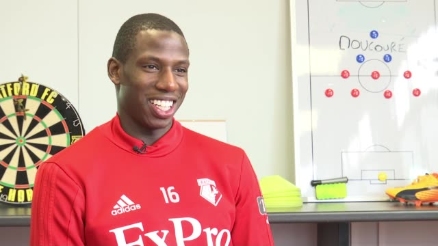 Southampton v Watford Abdoulaye Doucoure interview Hertfordshire INT Abdoulaye Doucoure interview SOT/ Various of Watford FC football training session