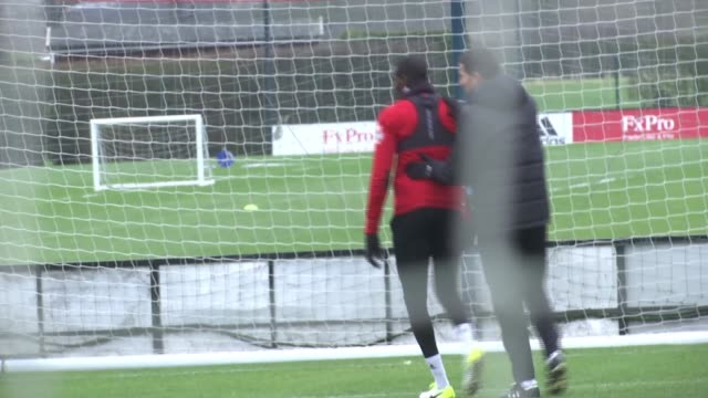 Southampton v Watford Abdoulaye Doucoure interview ENGLAND Hertfordshire EXT Various of Watford FC football training session including shots of...