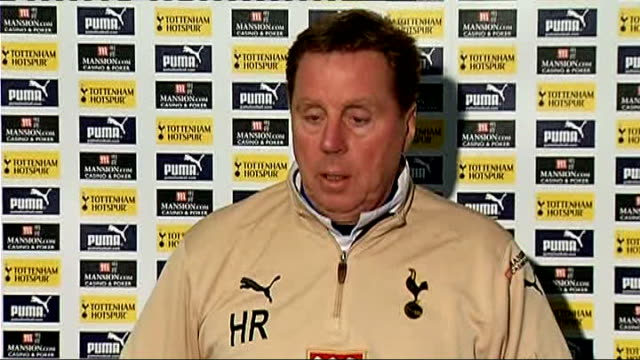 fourth round tottenham hotspur manager voices injury concerns england int harry redknapp press conference sot - tottenham hotspur f.c stock videos & royalty-free footage