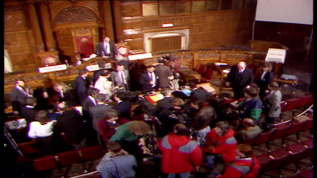 cup hillsborough disaster inquiry: arrivals on first day; england: yorkshire: sheffield: town hall: int top shot in court room and g.v's people... - sheffield stock videos & royalty-free footage