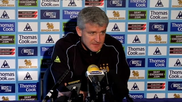 vídeos y material grabado en eventos de stock de manchester city press conference mark hughes hughes press conference sot new rumours every day and doesn't comment on rumours as it is unfair on... - unión europea de las asociaciones nacionales