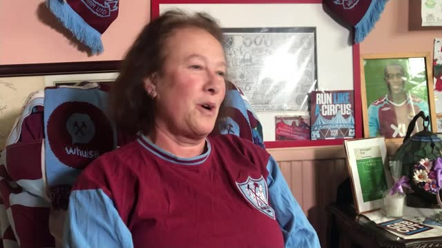 cup matches; england: london: ext / snow reporter to camera gv market vox pops west ham fans x3 int sue watson setup as pointing out different framed... - hammer stock videos & royalty-free footage