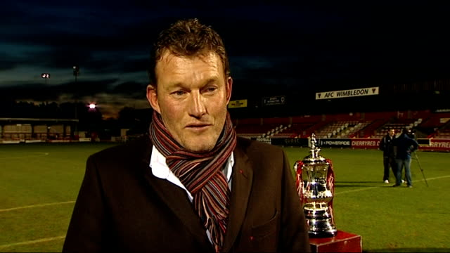 vídeos y material grabado en eventos de stock de mk dons to meet afc wimbledon for the first time preview surrey kingstonuponthames kingsmeadow dave beasant interview sot day various of afc... - buckinghamshire