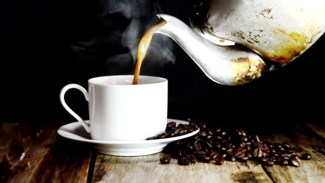 cup of coffee on black background - caffeine molecule stock videos & royalty-free footage