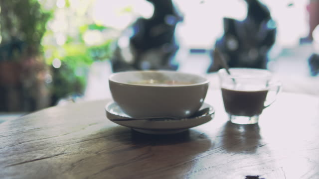 cup of coffee - wood plate stock videos & royalty-free footage