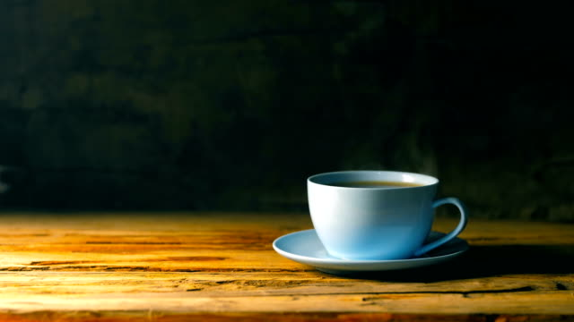 cup of hot coffee on table - coffee cup stock videos & royalty-free footage