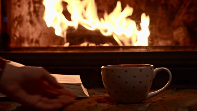 DS A cup of hot tea by the fireplace