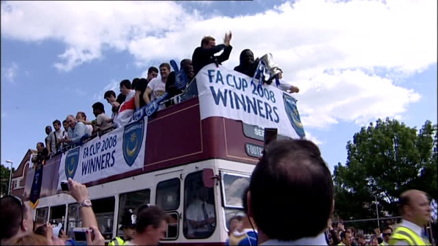Portsmouth FC victory parade ENGLAND Hampshire Portsmouth EXT Portsmouth football players along on top of opentop bus to celebrate winning the FA Cup